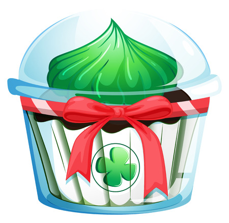 flavorful: Illustration of a cupcake with a green icing on a white background