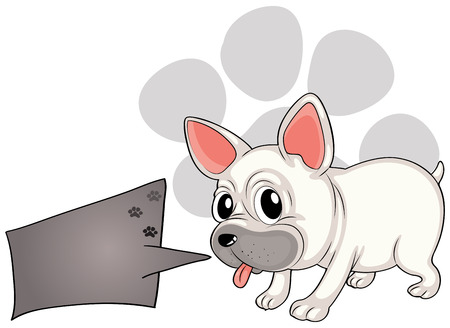 Illustration of a dog with a rectangular callout on a white background Illustration