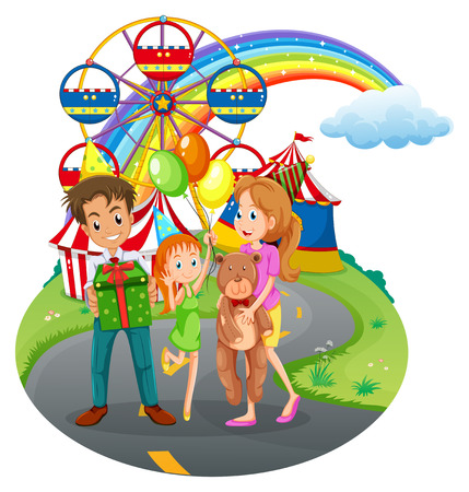 Illustration of a family at the amusement park on a white background Vector