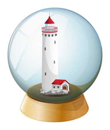 Illustration einer Kristallkugel mit einem Leuchtturm im Inneren auf einem weißen Hintergrund Standard-Bild - 28543955