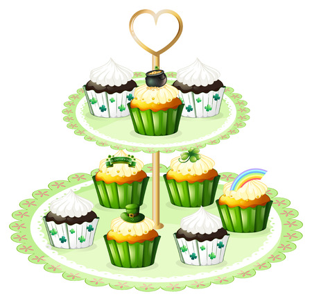 Illustration of the green cupcakes with a stand on a white background Vector