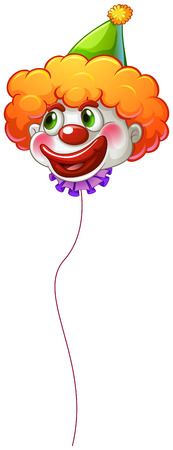 joker: Illustration of a colourful clown balloon with a string on a white background