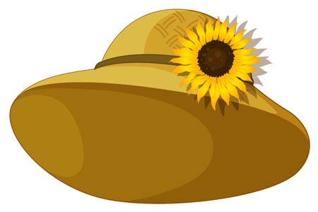 brownish: Illustration of a fashionable hat with a sunflower on a white background Illustration