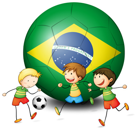 Illustration of the boys playing soccer with the flag of Brazil on a white background Vector