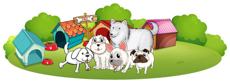 menu land: Illustration of a group of adorable dogs on a white background