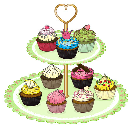 party tray: Illustration of a cupcake tray with cupcakes on a white background