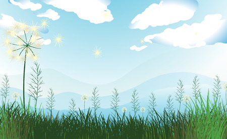 Illustration of the tall grasses under the blue sky