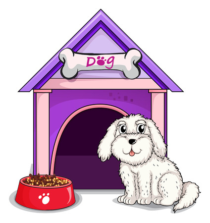 animal shelter: Illustration of a dog outsite the purple house on a white background Illustration