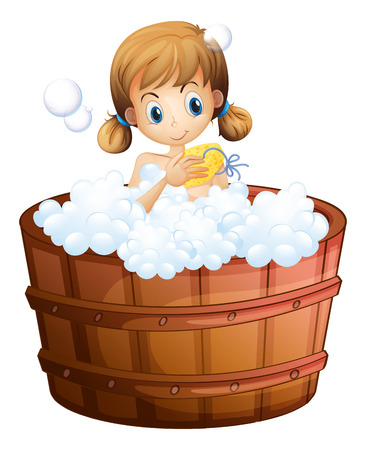 Illustration of a young girl taking a bath at the bathtub on a white background Illustration
