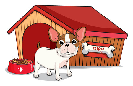 animal shelter: Illustration of a young bulldog outside the doghouse on a white background