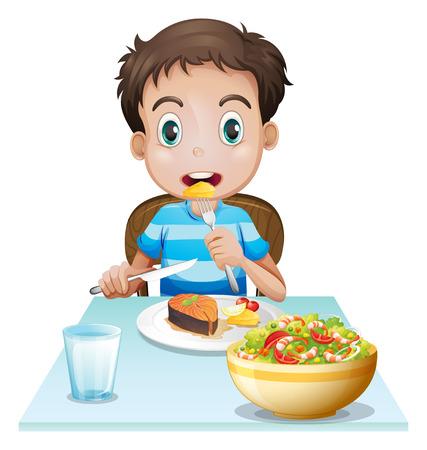 hombre comiendo: Ilustraci�n de un hombre joven con hambre en un fondo blanco