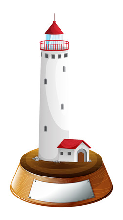 parola: Illustration of a tower decor with an empty template on a white background