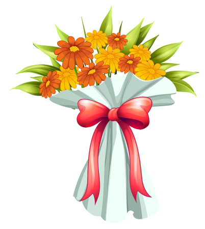 Illustration of a boquet of yellow and orange flowers on a white background Vector