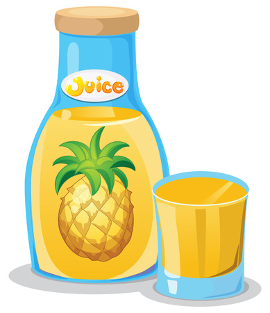 pineapple juice: Illustration of a bottle of pineapple juice on a white background