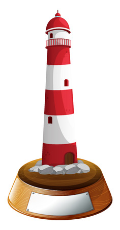 parola: Illustration of a tower decor with an empty label on a white background