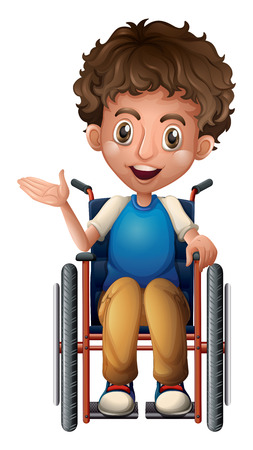 one person: Illustration of a happy man riding on a wheelchair on a white background