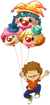 occassion: Illustration of a happy boy with three clown balloons on a white background