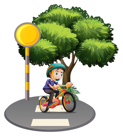 Illustration of a boy biking at the road on a white background Vector