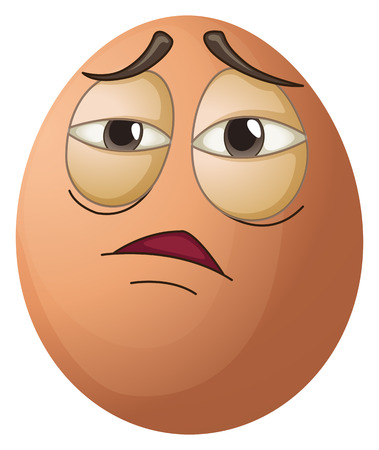 tiresome: Illustration of an egg with a tired face on a white background