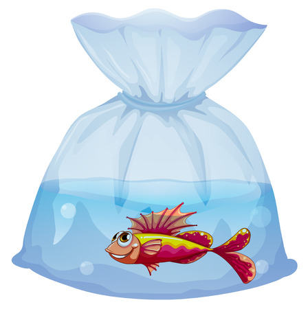 pouch: Illustration of a plastic pouch with a fish on a white background