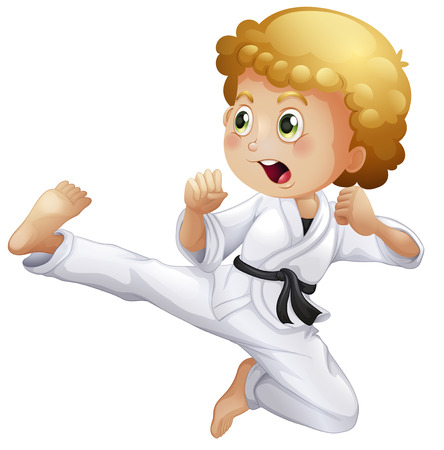 Illustration of a cute little boy doing karate on a white background Vector