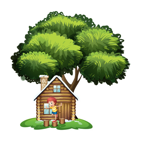 tree stump: Illustration of a boy playing outside the small house under the tree on a white background