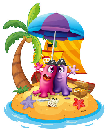 Illustration of a beach with two monsters on a white background Vector