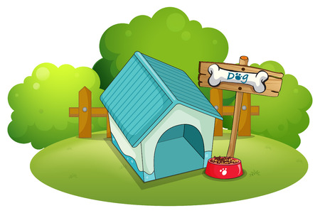 menu land: Illustration of a blue doghouse at the backyard on a white background