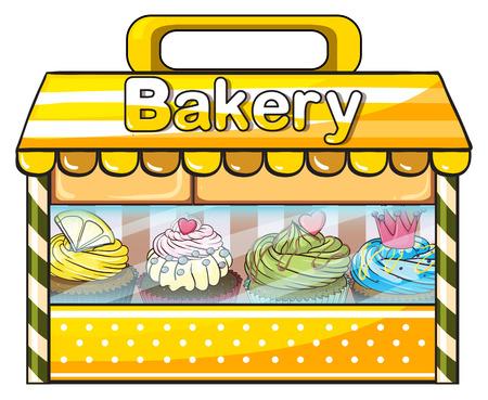 bancarella: Illustrazione di una bancarella panetteria su uno sfondo bianco Vettoriali