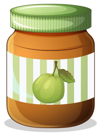 jam sandwich: Illustration of a bottle of guava jam on a white background