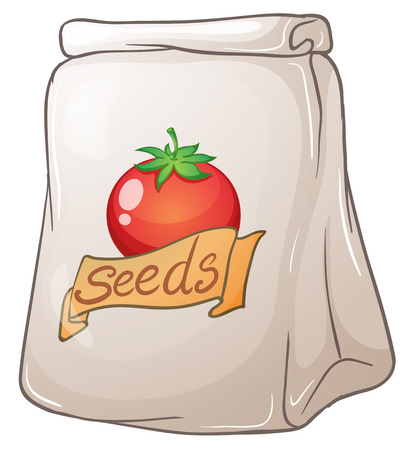 pouch: Illustration of a pouch of tomato seeds on a white background