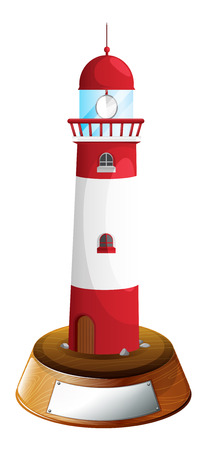 parole: Illustration of a decorative tower with an empty label on a white background