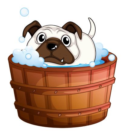 Illustration of a bulldog inside the bathtub on a white background Vector