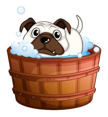 Illustration of a bulldog inside the bathtub on a white background Vector