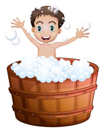 regimen: Illustration of a happy boy taking a bath on a white background