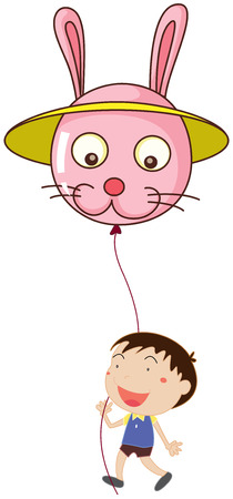 blowing nose: Illustration of a kid with a bunny balloon on a white background Illustration