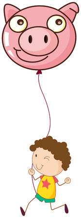 Illustration of a boy holding a pig balloon on a white background Vector