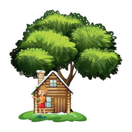 Illustration of a young girl playing outside the small house under the tree on a white background Illustration