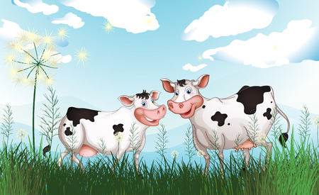 milking: Illustration of the two cows at the grassland