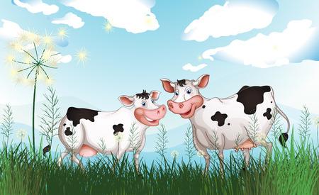 Ilustración de las dos vacas en el prado