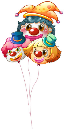 Illustration of the three clown balloons on a white background Vector