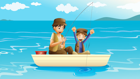 Illustration of a father and a son fishing Vector