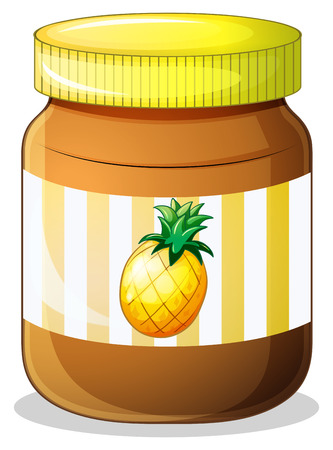 fruit clipart: Illustration of a bottle of pineapple jam on a white background