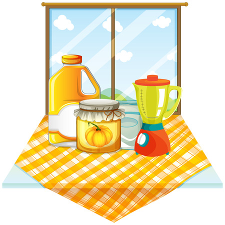 blender: Illustration of a table with a blender and containers on a white background