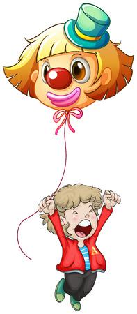 Illustrazione di un uomo felice giovane in possesso di un palloncino pagliaccio su uno sfondo bianco