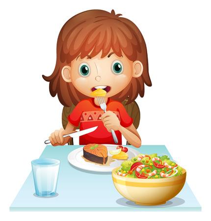白い背景にランチを食べる若い女性のイラスト
