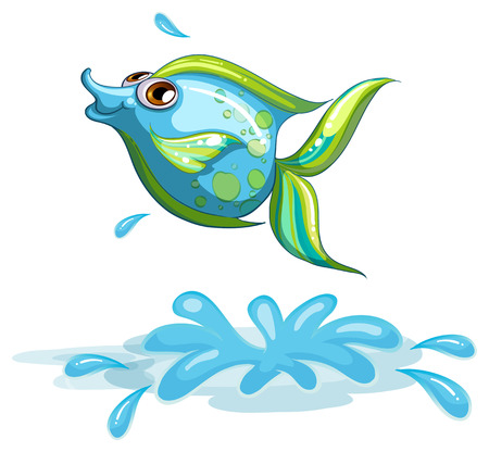 Illustration of a cute fish at the sea on a white background Vector