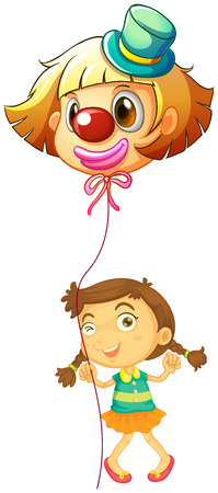 Illustration of a young girl holding a clown balloon on a white background Vector