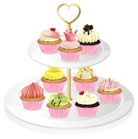 occassion: Illustration of a cupcake tray with pink cupcakes on a white background