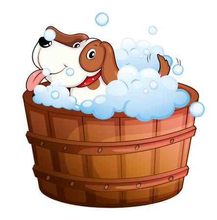 Ilustración de un lindo perrito de tomar un baño en un fondo blanco